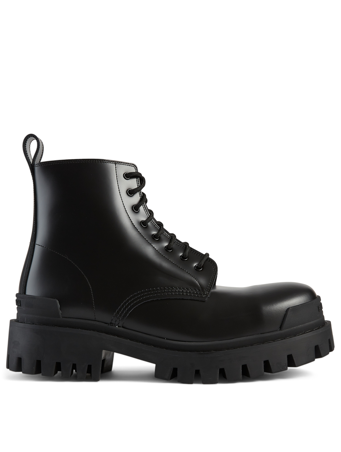 BALENCIAGA Strike Leather Lace-Up Ankle Boots Men's Black