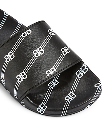 BALENCIAGA BB Rubber Logo Slide Sandals Men's Black
