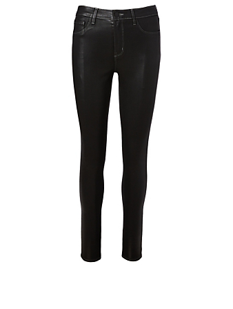 L'AGENCE Marguerite Coated High-Waisted Jeans Women's Black