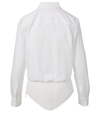L'AGENCE Blake Cotton Long-Sleeve Bodysuit Women's White