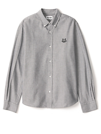 KENZO Cotton Tiger Crest Shirt Men's Grey