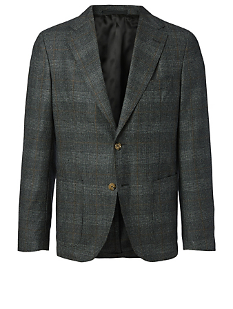 ELEVENTY Wool Jacket In Plaid Print Men's Grey