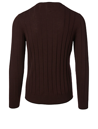ELEVENTY Wool Ribbed Knit Sweater Men's Red
