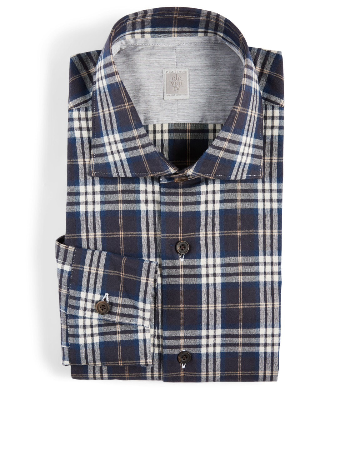 ELEVENTY Cotton Shirt In Plaid Print Men's Blue