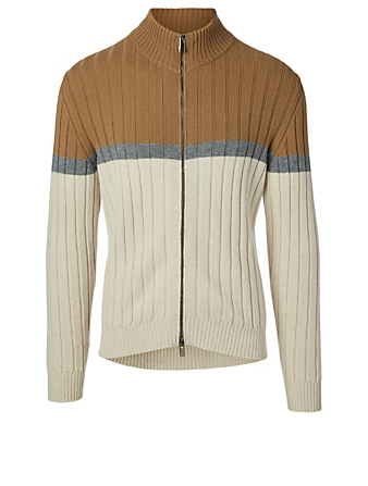 ELEVENTY Wool Zip Sweater Men's Beige