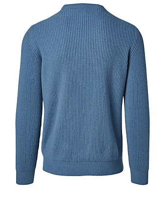ELEVENTY Cashmere Ribbed Knit Sweater Men's Blue