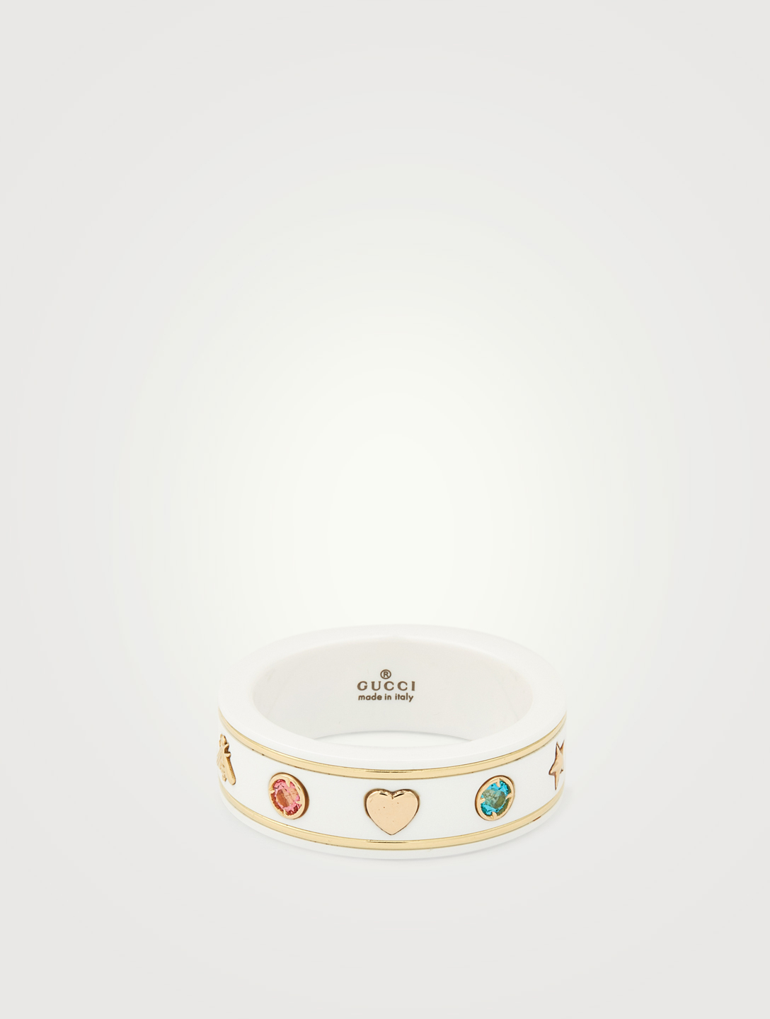 GUCCI Icon Zirconia And 18K Gold Ring Women's Metallic