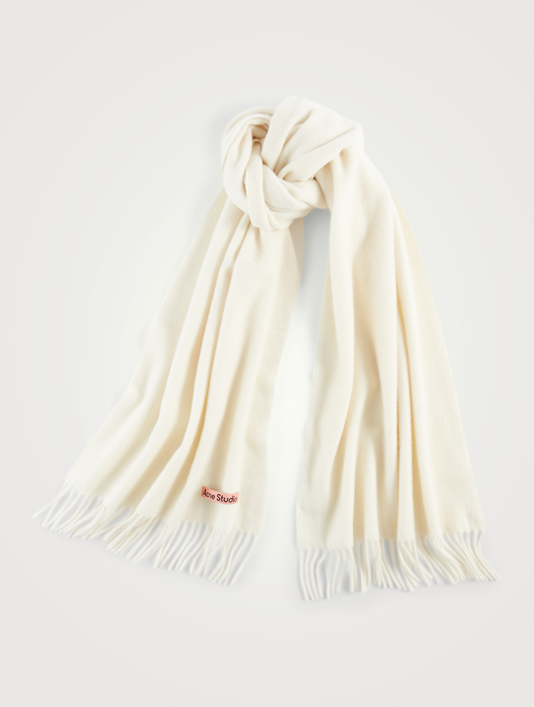 ACNE STUDIOS Narrow Wool Scarf With Fringe Women's White