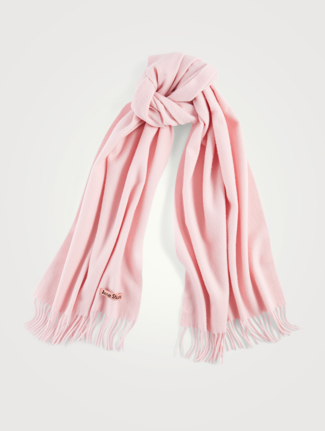 ACNE STUDIOS Narrow Wool Scarf With Fringe Women's Pink