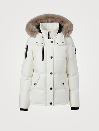 MOOSE KNUCKLES 3Q Down Jacket With Fur Hood Women's White