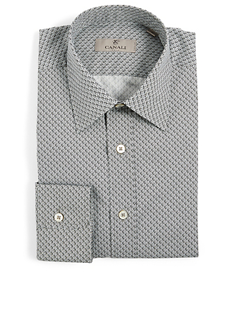 CANALI Cotton Printed Shirt Men's Blue