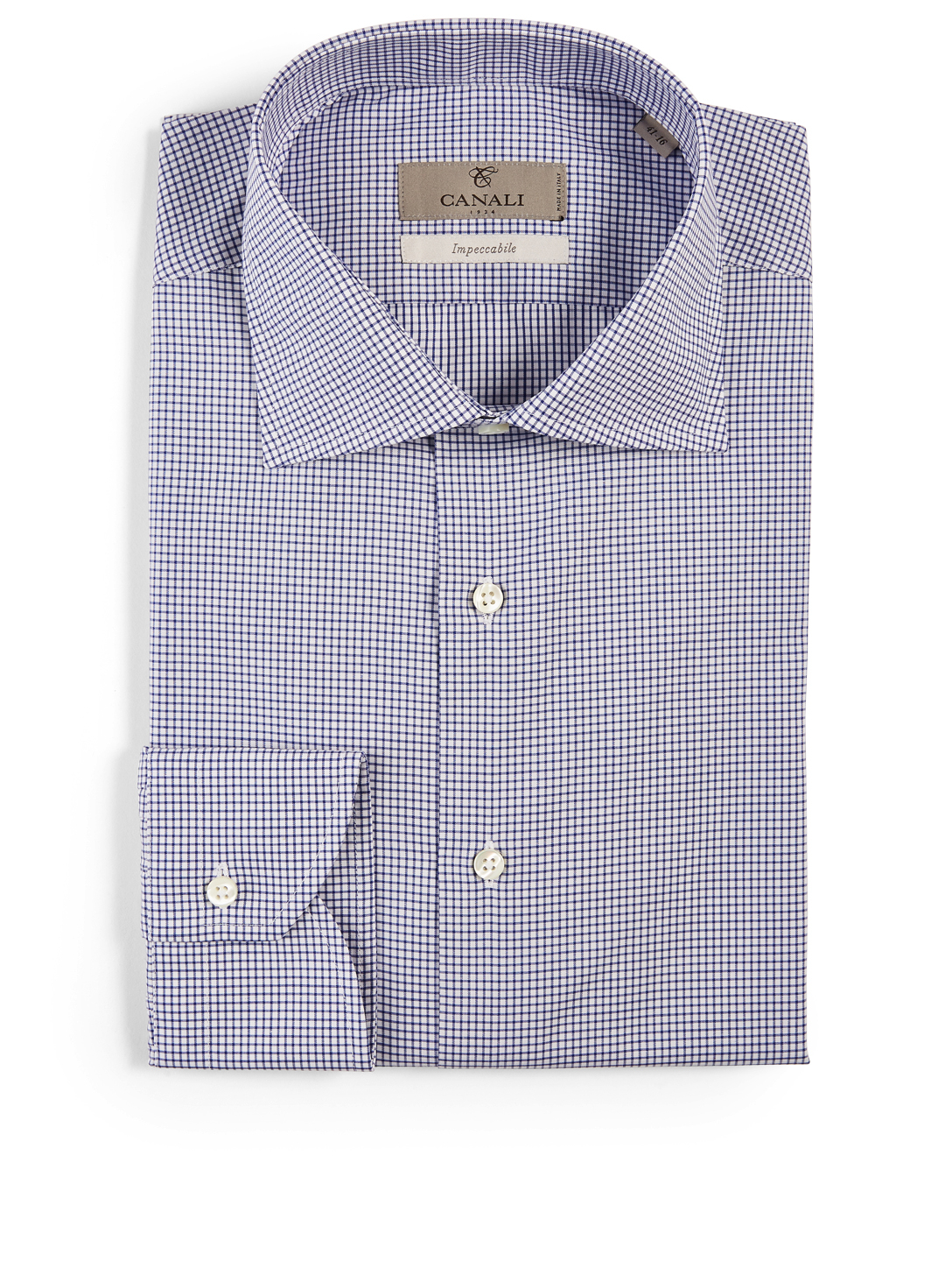 CANALI Cotton Shirt In Mini Grid Print Men's Blue
