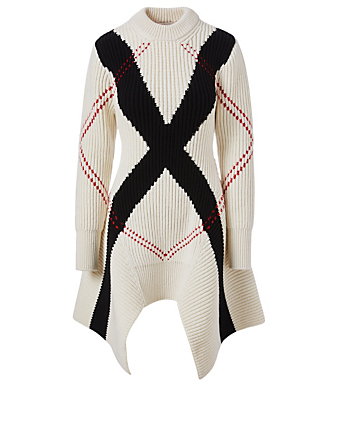 ALEXANDER MCQUEEN Wool And Cashmere Dress In Exploded Argyle Print Women's Multi