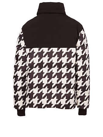 MOOSE KNUCKLES Tyrell Down Puffer Jacket In Houndstooth Print Women's Black