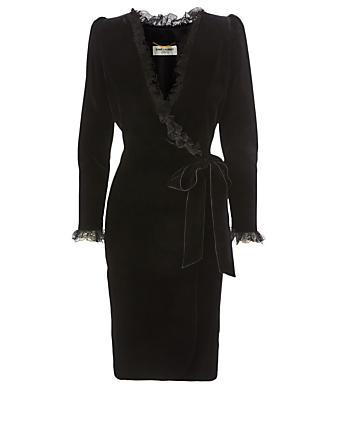 SAINT LAURENT Velvet Ruffled Wrap Dress Women's Black