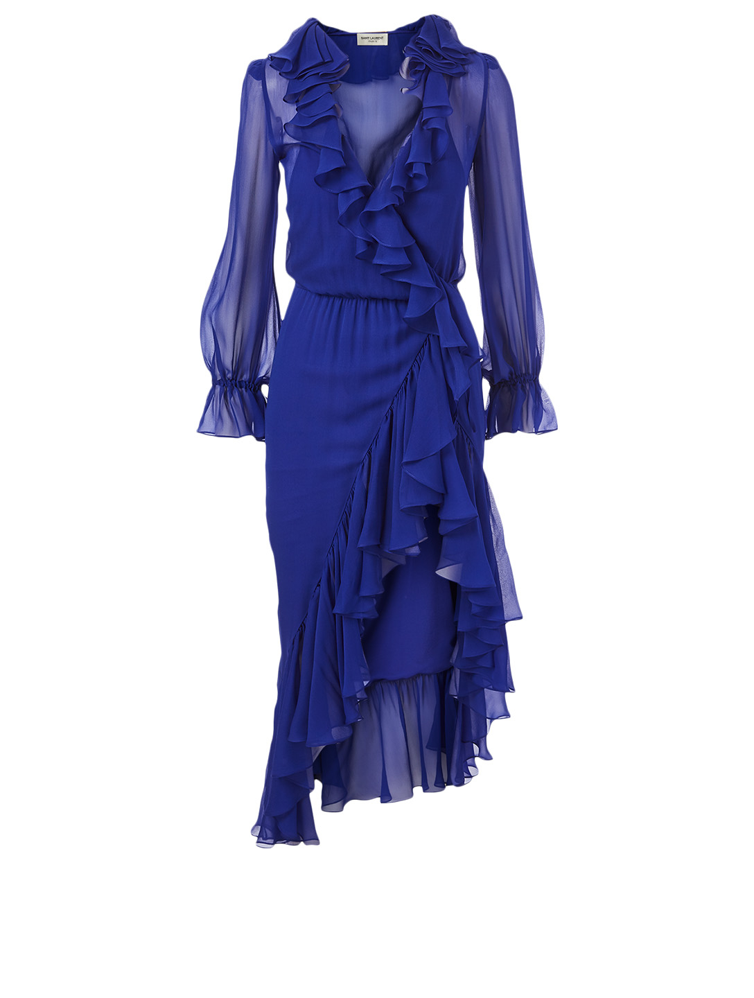 SAINT LAURENT Silk Ruffled Asymmetric Dress Women's Blue