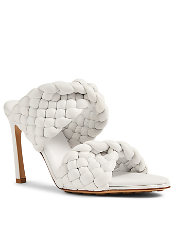 BOTTEGA VENETA The Curve Intrecciato Leather Heeled Mule Sandals Women's White
