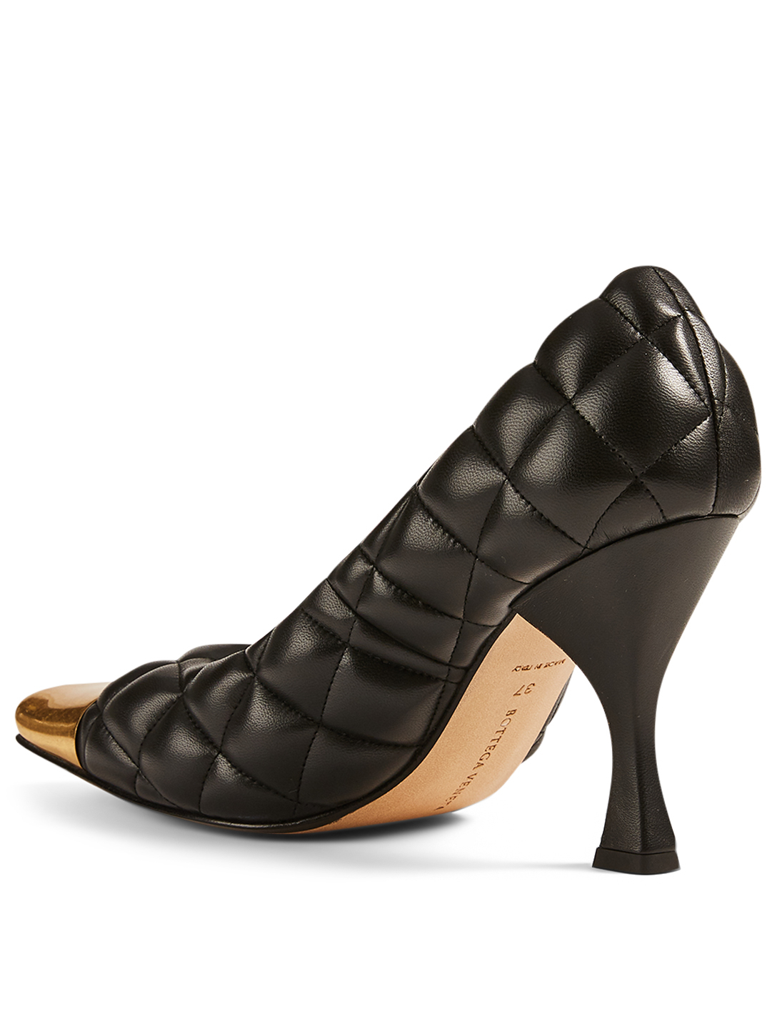 BOTTEGA VENETA Quilted Leather Pumps With Metal Toe Cap Women's Black