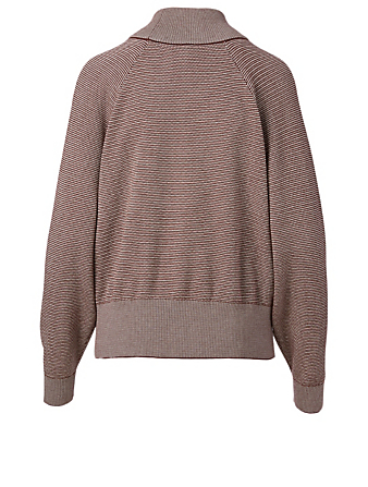 VARLEY Maceo Cotton Knit Mockneck Sweatshirt Women's Brown
