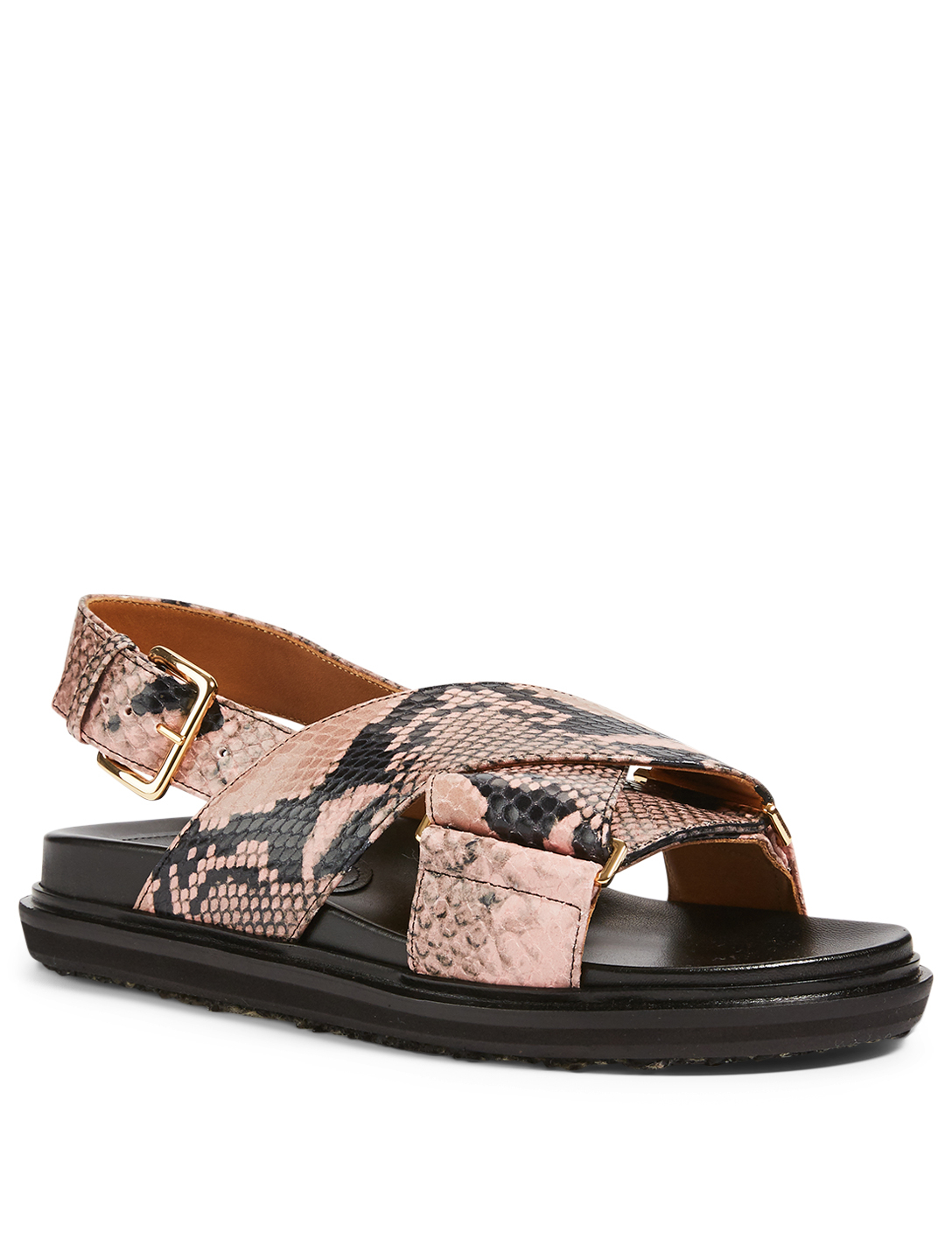 MARNI Fussbett Snake-Embossed Leather Slingback Sandals Women's Pink