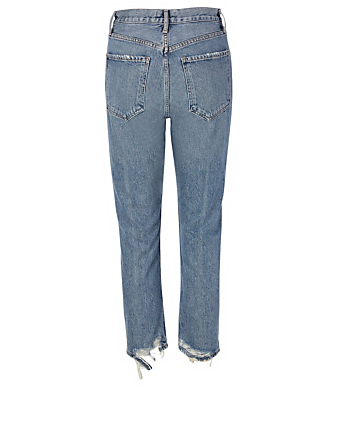AGOLDE Riley Straight Crop High-Waisted Jeans Women's Blue