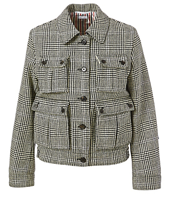 THOM BROWNE Veste Harrington en tweed de laine à motif prince-de-Galles Femmes Multi