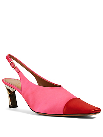MARNI Satin Slingback Pumps With Cap Toe Women's Pink