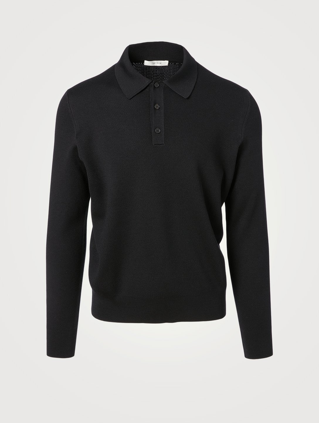 THE ROW Lambert Wool And Silk Pique Polo Shirt Men's Black