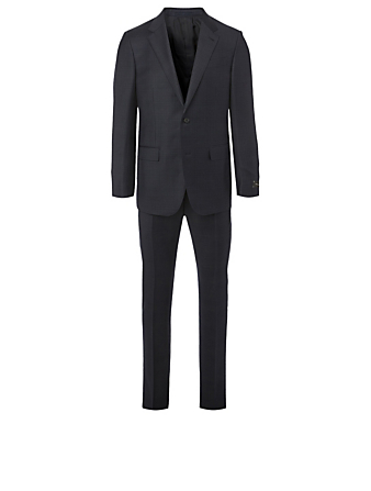 ERMENEGILDO ZEGNA Wool And Silk Two-Piece Suit In Check Print Men's Blue