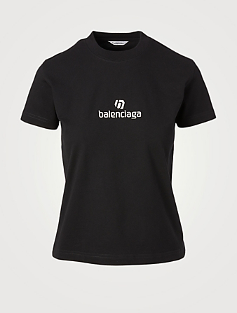 BALENCIAGA Fitted T-Shirt With Sponsor Logo Women's Black