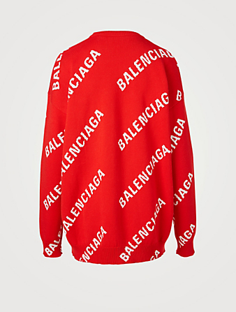 BALENCIAGA Cotton And Wool Sweater In Logo Print Women's Red