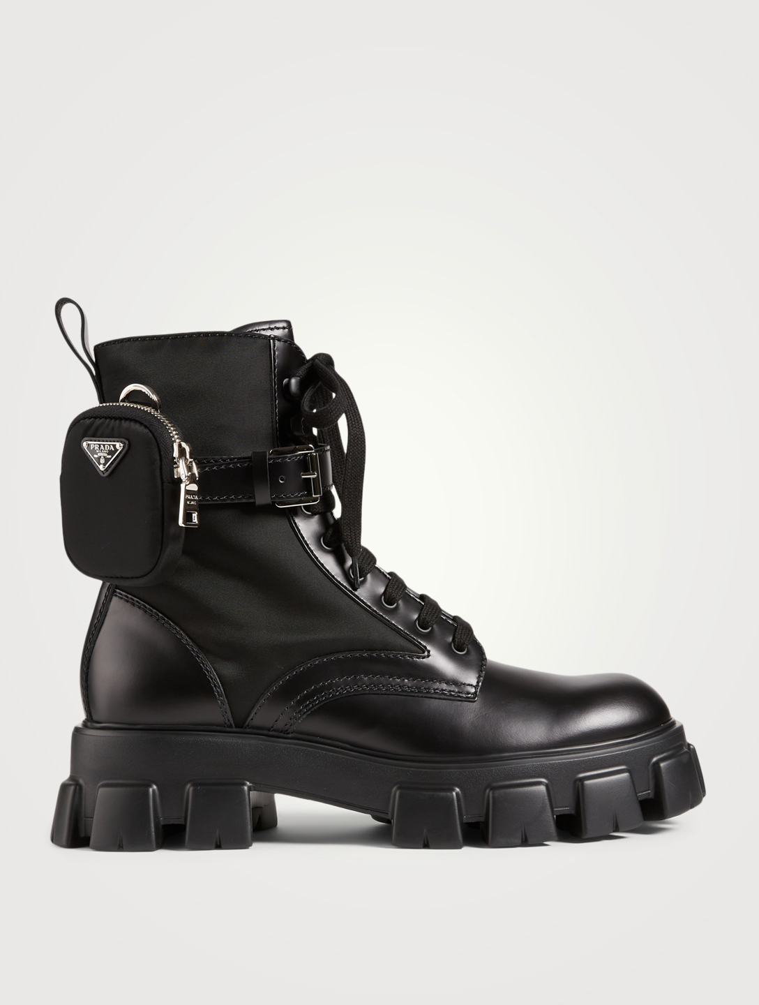 PRADA Leather And Nylon Platform Combat Boots With Pouches Men's Black