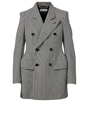 BALENCIAGA Wool-Blend Hourglass Blazer In Houndstooth Print Women's Multi