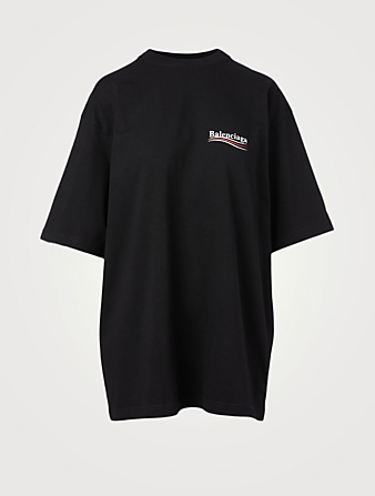 BALENCIAGA Political Campaign Oversized T-Shirt Women's Black