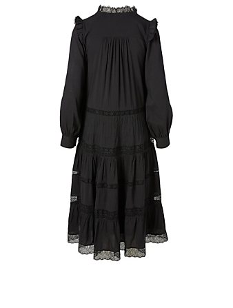 MAGALI PASCAL Henriette Long-Sleeve Midi Dress With Lace H Project Black