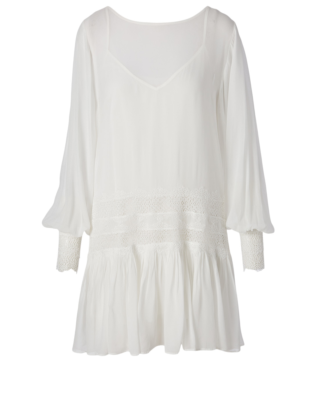 MAGALI PASCAL Anabelle Long-Sleeve Mini Dress With Lace H Project White