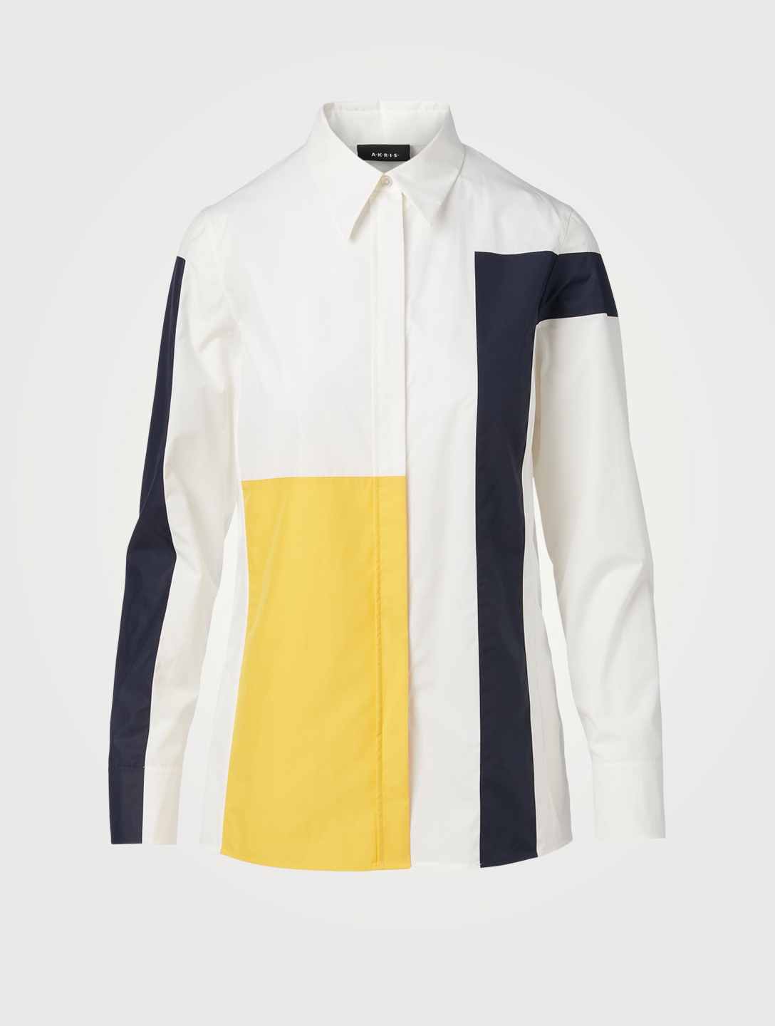 AKRIS Cotton Patchwork Shirt Women's White