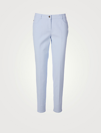 AKRIS Magda Cotton And Silk Slim Pants Women's Blue