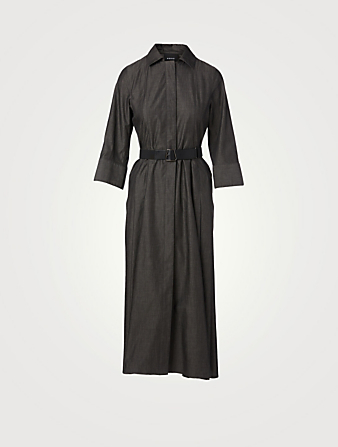 AKRIS Cotton Midi Shirt Dress With Belt Women's Black