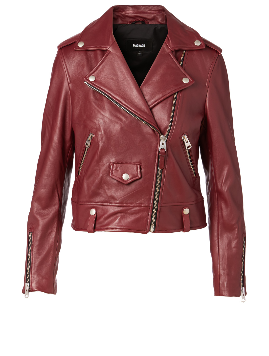 MACKAGE Baya Leather Moto Jacket Women's Red