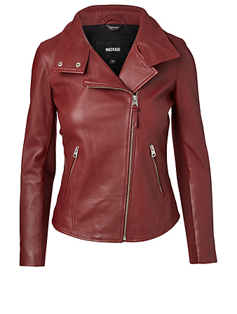 MACKAGE Sandy Leather Zip Jacket Women's Red