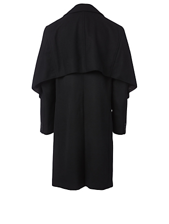 COMME DES GARÇONS HOMME PLUS Wool Deconstructed Trench Coat Men's Black