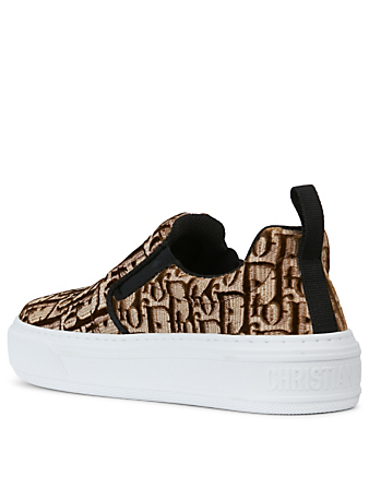 DIOR Dior Solar Velvet Oblique Embroidery Slip-On Sneakers Women's Brown