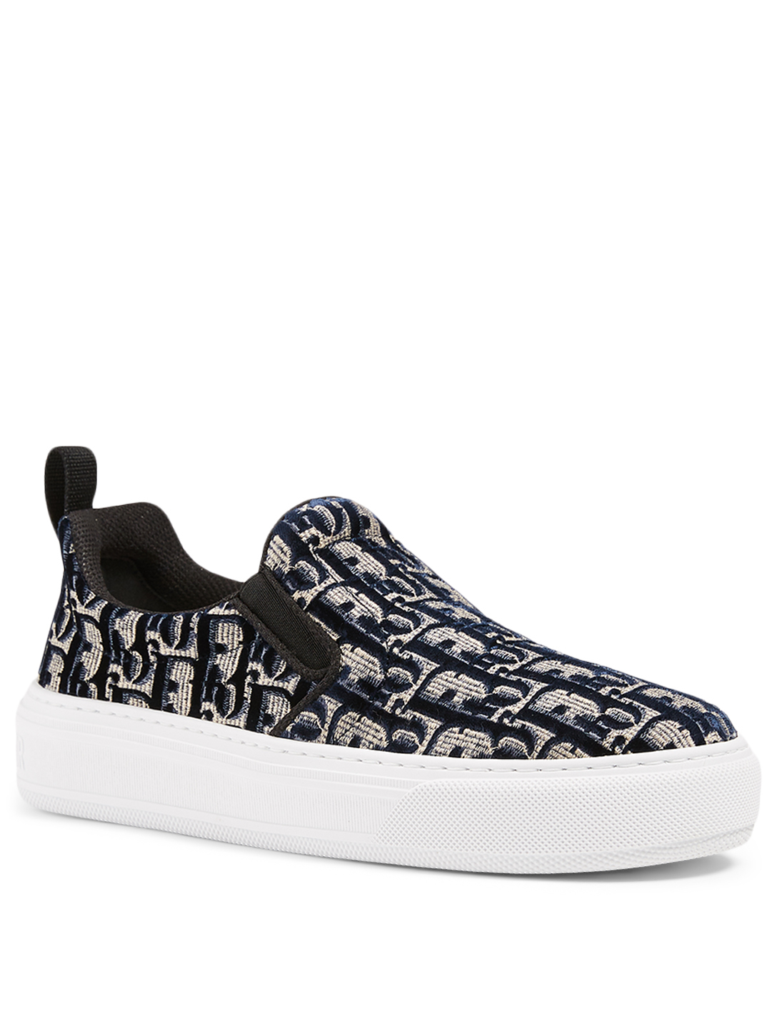 DIOR Dior Solar Velvet Oblique Embroidery Slip-On Sneakers Women's Blue