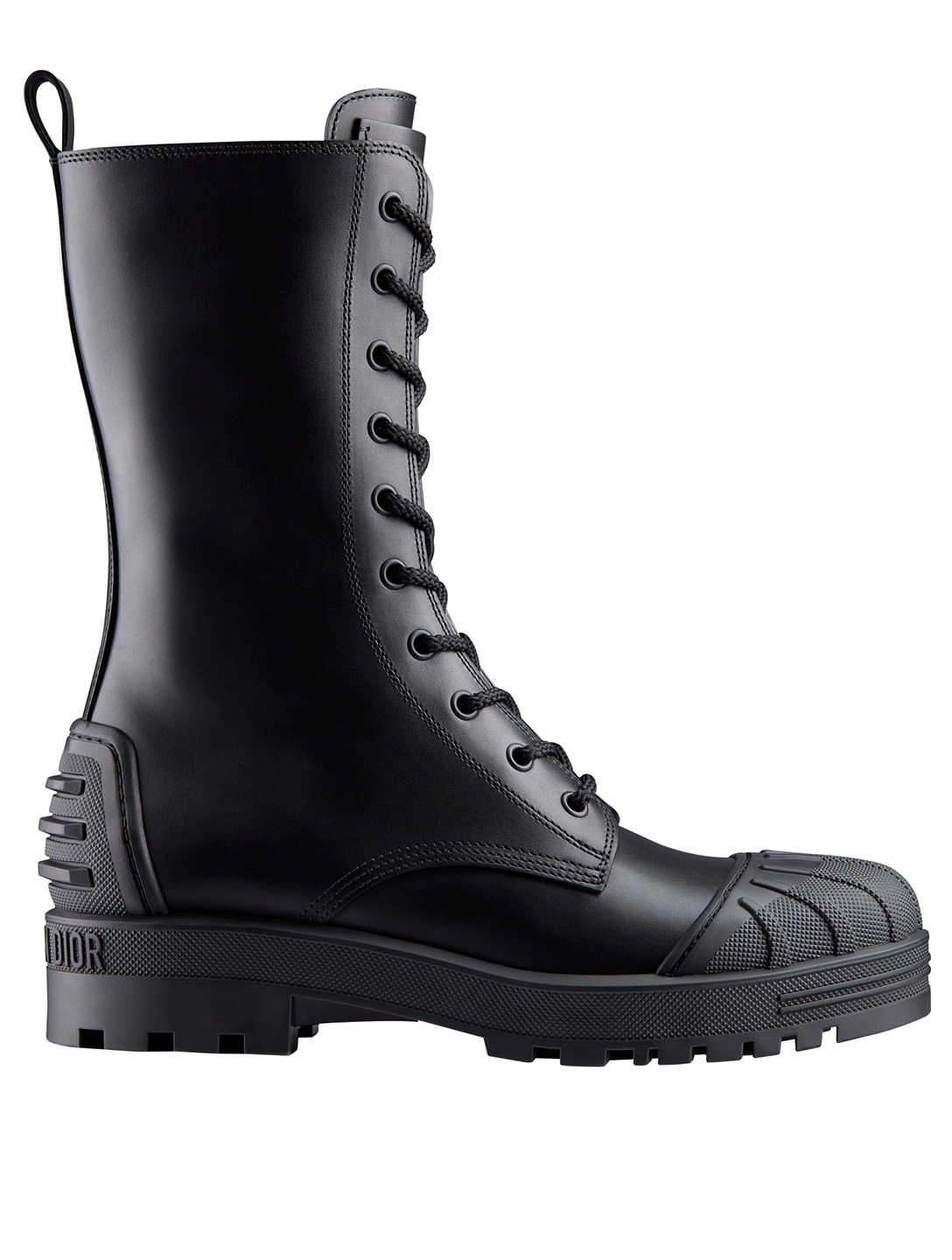DIOR Dioriron Leather And Rubber Lace-Up Boots Women's Black