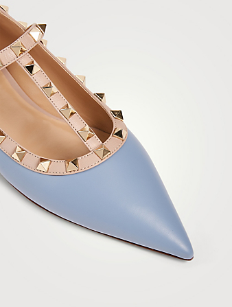VALENTINO GARAVANI Rockstud Leather Ballet Flats Women's Blue