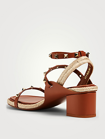 VALENTINO GARAVANI Rockstud Leather Espadrille Heeled Sandals Women's Brown