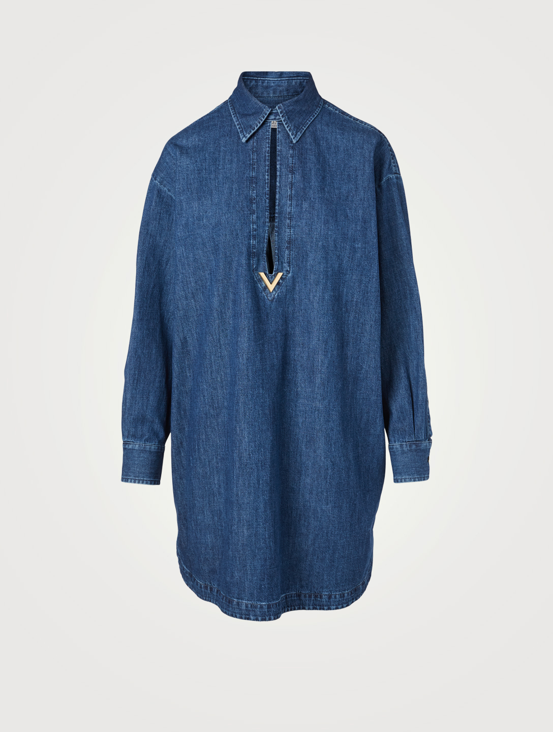 VALENTINO Cotton Denim Short Kaftan Women's Blue