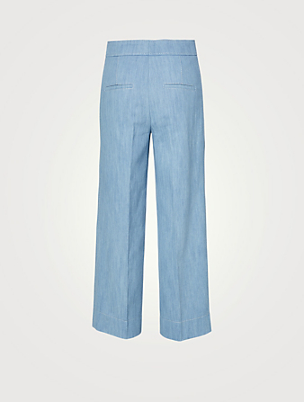 AKRIS PUNTO Cotton Stretch Wide-Leg Denim Pants Women's Blue