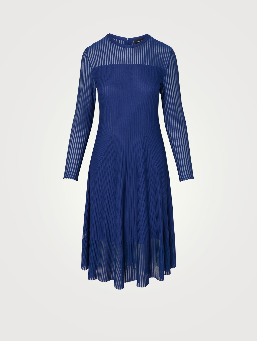 AKRIS Silk Stretch Knit Midi Dress Women's Blue